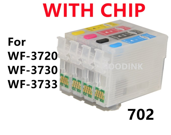 4pk Empty Refillable Ink Cartridge for Epson WF3720 WF3730 WF3733 T702 702 XL Printer with single use chips