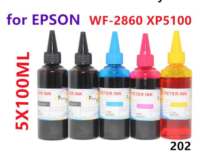 5X100ML Regular Dye Ink for Epson WF2860 XP5100 Printer T202 202 Refillable ink cartridges CISS
