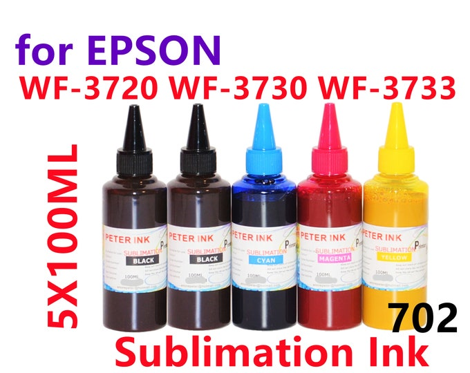 5X100ml Sublimation Ink for Epson Wf-3720 Wf-3730 Wf-3733 Printer T702 702 Refillable ink cartridges CISS for heat press