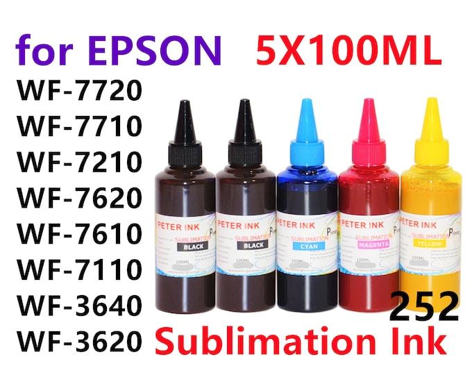 5X100ML Sublimation Ink for Epson wf-7720 wf-7710 wf-7210 wf-7620 wf-7610 wf-7110 wf-7520 wf-7510 wf-7010 252 Refillable ink cartridges CISS