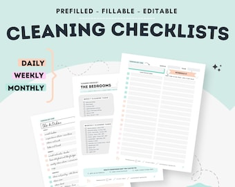 Fillable Cleaning Checklists, Editable Cleaning Planners, Monthly Cleaning Checklist, Household Chore List, Printable Cleaning Planner