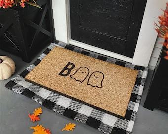 Dollhouse Doormat for 1:12 Miniatures   Halloween Doormat I Boo Ghosts