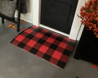 Dollhouse Layering Doormat for 1:12 Miniatures   Doormat Layer for Dollhouses   Buffalo Plaid Large