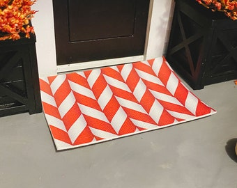 Dollhouse Layering Doormat for 1:12 Miniatures   Doormat Layer for Dollhouses   Candy Cane