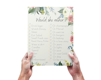 Would she rather? Bridal Hen Party Game