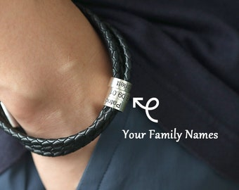 Personalized Gifts for Him, Custom Engraved Name Bracelet for Men, Silver Bead Bracelet, Gift for Husband, Gift for dad, Christmas Gifts