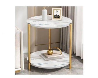 Coffee Table Made of Marble Texture with Stainless Steel Frame