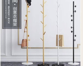 Coat Rack / Bedroom Single Pole Hanger / Living Room Wrought Iron Clothes Rack with Marble Base