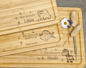 Personalized breakfast board / cutting board made of bamboo wood, cutting board with name engraving and animal pattern   Engraved gift