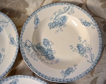 Set of 3 VIntage french plates, bleu transferware plates, antique ironstone plates