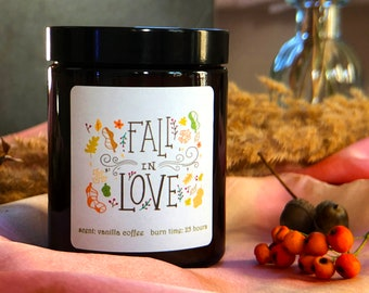 Fall Decor Jar Candle, Autumun Amber Jar Candle, Housewarming Gift Scented Candle, Homemade Decorative Book Candle, Pumpkin Spice Candle