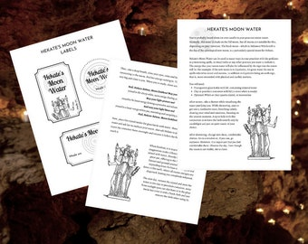 Hekate's Moon Water - Printable Grimoire Pages