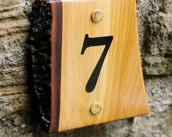 Live Edge Hardwood House Number