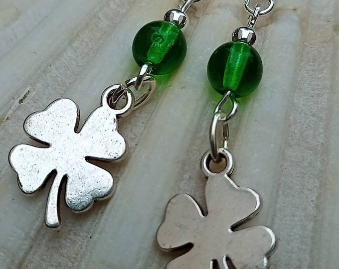 Featured listing image: Lucky clover handmade earrings.
