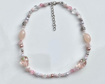 Pink Strawberry Mixed Bead Necklace 14-16in