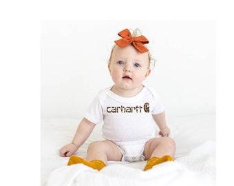 Baby Carhartt onesie   leopard Carhartt   Jersey Bodysuit   Carhartt   Boutique   bummies