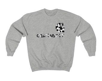 Cow print shirt   cow print   cowhide   western shirt   Crewneck Sweatshirt   carhartt   leopard Carhartt