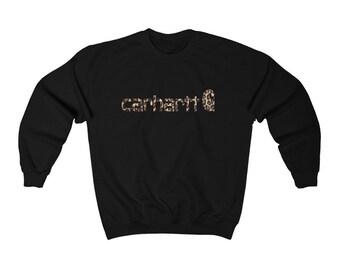 ON SALE <<<<  Leopard print Carhartt inspired   Carhartt cheetah print   western shirt   fall sweatshirt
