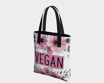 Pink Floral Vegan Tote