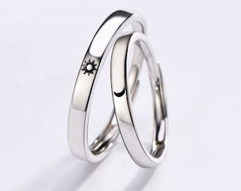 Silver ring set, Sun and moon friendship rings, Matching rings for couples & best friends, Dainty engagement ring, Anniversary gift