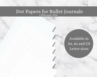 A5 Dotted Journal inserts, A4, US letter digital downloads and printables