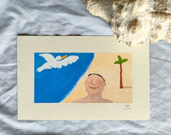 illustration walk to the beach