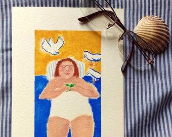 illustration read at the beach
