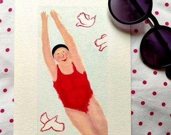 bathing illustration