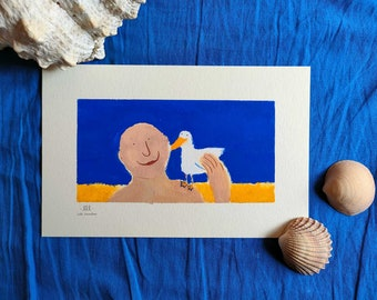 illustration the man and the seagull