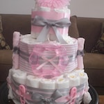 Janet custom orders Pink and Grey Diaper Cake Baby Shower Centerpiece other toppers and colors too