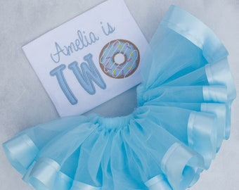 Personalized Blue Donut Birthday Tutu Outfit