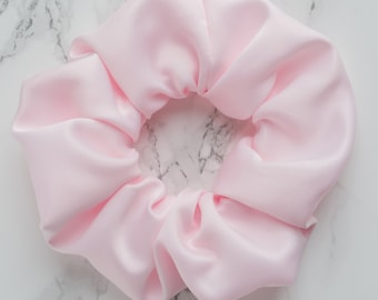Light Pink Satin Standard Scrunchie