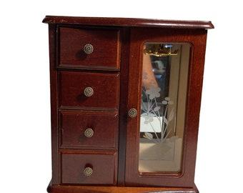 Vintage Wooden Mini Armoire Jewelry Box!