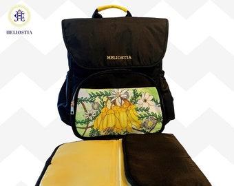 Best Multifunctional Stylish Black Mummy Baby Diaper Bag Backpack, Large Capacity Nappy Bag, Unique Design Changing Backpack, Travel Bag