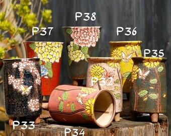 Designer Hand Painted Ceramic Planter, House Warming Gift, Succulent Pots, Flower Pots, Plant Pots, Home Garden, Gift for mum Gift for Nanna