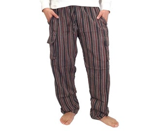 Mens Striped Pants Cargo Handmade Cotton Hippie Yoga Comfy Unisex Summer Hippy