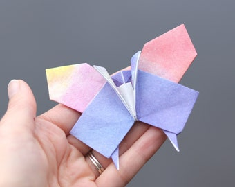 Origami butterfly for home decor, decorative paper butterfly gift for birthday party, get well soon wish in watercolor Japanese paper
