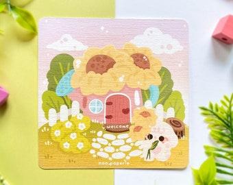 Cute Sunflower House Art Print  | cute wall decor, art wall decor, art wall prints