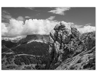 Dolomites Italian Landscape Photograph   Alpine Photography   Black and White Landscape   Wall Art   Mountains   Aluminium Dibond Print