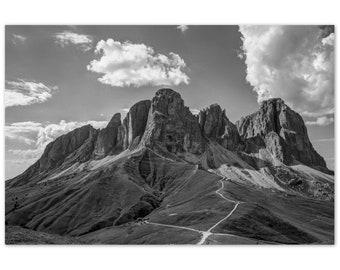 Dolomites Italian Landscape Photograph   Aluminium Dibond Print   Alpine Photography   Black and White Landscape   Wall Art   Mountains