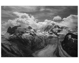 Monte Rosa Swiss Landscape Photograph   Alpine Photography   Black and White Landscape   Wall Art   Mountains   Aluminium Dibond Print