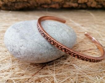 Adjustable Copper Cuff -- Copper Bracelet -- Unique Jewelry -- Bracelet For Women Men -- Christmas Gift -- Valentine's Day Gift