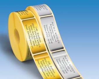 500 embossed GOLD or SILVER address stickers, self-adhesive address labels on the roll produced with embossing technology, 7 fonts.