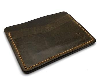 Handmade Leather Minimalist Wallet Front Pocket Wallet Vegetable Tan Leather