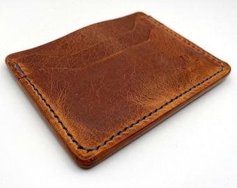 Handmade Leather Wallet Minimalist Wallet Front Pocket Wallet Vegetable Tan Leather