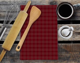 Organic hemp cotton tea towel | Modern Christmas decor |Plaid design | Kitchen decor | Farmhouse style | Hand sewn