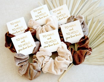 Velvet Scrunchies | Hair Scrunchies | Bridesmaid Gift Scrunchies | Bachelorette Party Gift Scrunchies | To Have And To Hold Your Hair Back