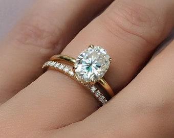 2 carat Oval Moissanite Engagement Ring Set, 14K Yellow Gold Ring, Moissanite Ring Set, Anniversary Bridal Promise Ring For Her Gift