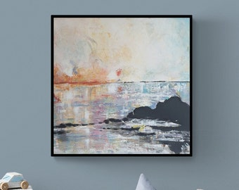 Color play sunset on the water, original, painting, acrylic, canvas picture, unique, handmade, acrylic picture, artist, mural,