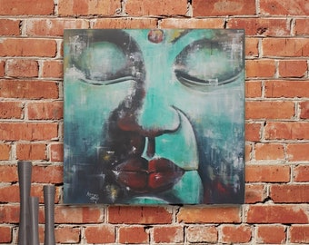 Buddha, Original, Painting, Acrylic, Canvas painting, Unique, handmade, Acrylic painting, Artist, Mural,